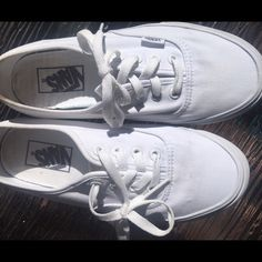 White Vans New condition. I have about 5 pairs of white vans so I don't need all of them. Worn once or twice. Size women's 7 Vans Shoes