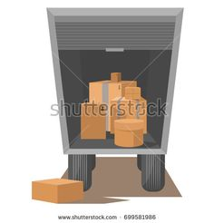 Truck with open luggage compartment, unloading, loading, relocation
