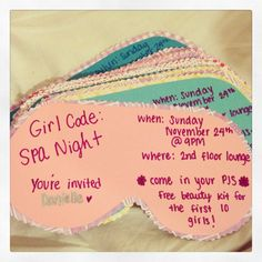 Girl Code: Spa Night Program invitations! Posted these on my residents' doors. Resident Assistant programs.