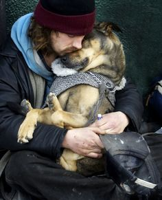 Homeless man and his best friend. No matter what your dog will always be there and love you, regardless of your circumstances. <3
