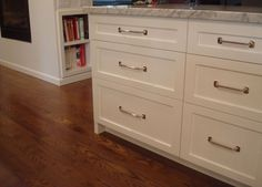 Full Overlay Cabinets With White Marble Counter