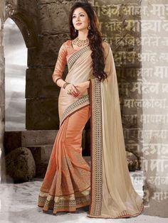 Orange+with+Cream+Color+Embroider+Designer+Party+Wear+Saree #indianfashion #dress #latepost #australia #indiandesigner #punjabisuit #pakistanifashion #anarkali #indianweddings #punjabiwedding #tamilbride #bridallengha #southasianbrides #lehenga #pakistan #india #newyork #fashion #designer #kareenakapoor #bridalshower #weddingdress #weddings #henna #inspiration #indian #dubai #southindian #london #shopping