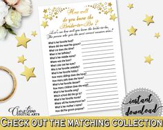 How Well Do You Know The Bride To Be in Gold Stars Bridal Shower White And Gold Theme, knowing the bride, party planning, prints - 6GQOT #bridalshower #bride-to-be #bridetobe