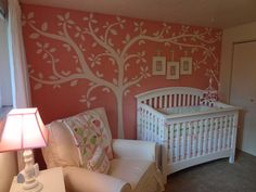 """The """"Tweet""""est Nursery from ProjecyNursery.com. I love the bird theme. Just the one wall is painted pink, so it's not too overwhelming."""