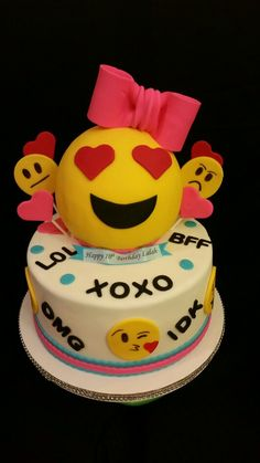 Birthday cake girls kids emoji ideas for 2019 Birthday Cakes Girls Kids, Birthday Parties, Birthday Ideas, Cake Birthday, Women Birthday, 13th Birthday, Fondant Cakes, Cupcake Cakes, Emoji Cake