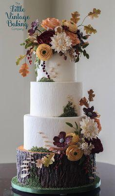 Floral Wedding Cakes Award Winning Fall Foliage Wedding Cake by The Little Vintage Baking Company Floral Wedding Cakes, Wedding Cake Rustic, Fall Wedding Cakes, Rustic Cake, Floral Cake, Wedding Cake Designs, Woodland Wedding, Purple Wedding, Gold Wedding