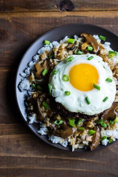 Our version of loco moco is incredible- its like aloha on a plate. Hawaiian comfort food meets Korean umami for a fusion that is seriously good Easy Cooking, Cooking Recipes, Gluten Free Recipes, Healthy Recipes, Rice Recipes, Loco Moco, Meat Seasoning, Friends, Kitchens