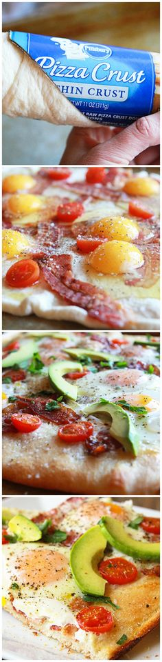 Avocado Breakfast Pizza ~ Take breakfast to a whole new level with this incredible (and incredibly easy!) breakfast pizza, featuring a crusty Pillsbury pizza base, bacon, tomatoes, avocados and eggs baked right up top. Delish!