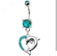 Dolphin heart belly button ring