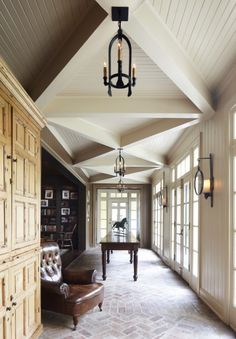 Love this ceiling treatment. I'm over the coffered trend!