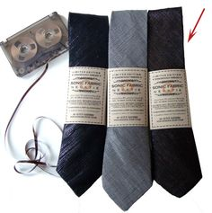 recycled cassette tape thin necktie