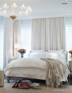 All white bedroom. #bedroom décor, beds, headboards, four poster, canopy, tufted, wooden, classical, contemporary bedroom, nightstand, walls, flooring, rugs, lamps, ceiling, window treatments, murals, art, lighting, mattress, bed linens, home décor, #interiordesign bedspreads, platform beds, leather, wooden beds, sofabed
