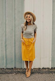 button front midi skirt, Inspiration Midi Skirt With Buttons In Front, Midi Skirt . - { fave outfits - outfit - looks } - Yellow Skirt Outfits, Midi Skirt Outfit, Yellow Skirts, Midi Skirts, Outfits With Hats, Mode Outfits, Casual Outfits, Spring Fashion Outfits, Trendy Fashion