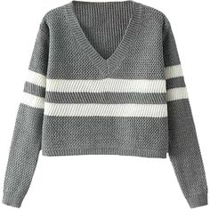 V-neck Cropped Loose Stripe Sweater ($28) ❤ liked on Polyvore featuring tops, sweaters, shirts, jumpers, crop shirt, v-neck shirt, v neck jumper, v neck sweater and stripe sweater