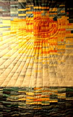 The machine quilting on this strip pieced quilt give it meaning!  So simple.  So effective. rays @ DIY Home Ideas