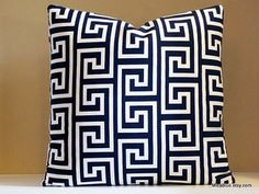 OUTDOOR. Navy and white Greek Key pillow cover, Reversible pillow with same fabric on both sides , all sizes available