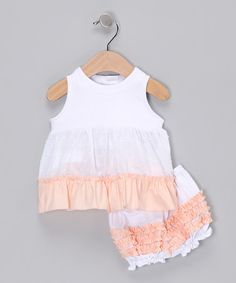 White & Peach Dress & Ruffle Bloomers - Infant by Addie & Ella