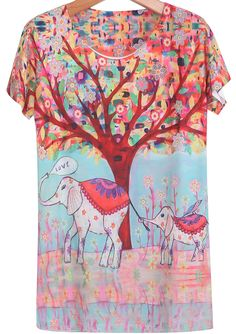 Red Short Sleeve Tree Elephant Print T-Shirt - Sheinside.com