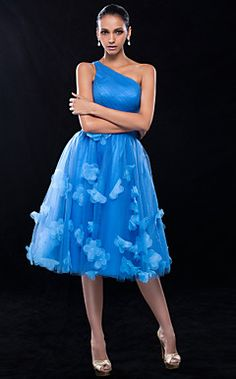A-line One Shoulder Knee-length Tulle Cocktail Dress (699373... – USD $ 179.99