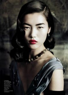 1940's look. Red lips. Stunning! Liu Wen for Vogue China September 2010 by Paolo Roversi