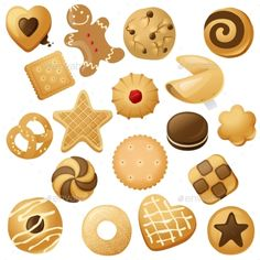 Buy Cookie Icons by mart_m on GraphicRiver. 18 cookie icons for your designs Cartoon Cupcakes, Cartoon Cookie, Bretzel Tattoo, Nail Art Cupcake, Cookie Drawing, Biscuits Packaging, Chibi Food, Cute Food Drawings, Bread Art