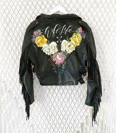 Hand Painted Leather Jacket // Boho Bride // Modern Bride Style @foxandsparrowdesign