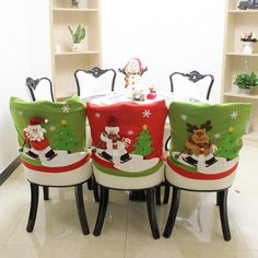 Christmas Santa Clause Chair Covers Red Hat Chair Back Cover natal Dinner Table Party noel navidad Cheap-christmas-ornament chair covers Kitchen Chair Covers, Chair Back Covers, Party Table Decorations, Christmas Party Decorations, Table Party, Dinner Table, Dinner Chairs, Xmas Party, Holiday Decor