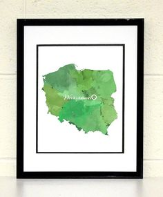 wyoming USA state map 8x10 art print poster watercolor painting wall art