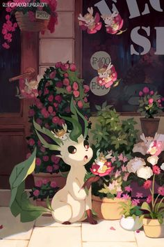 Just a cute Leafeon with Floette