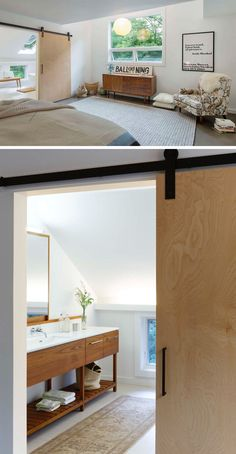 This light wood sliding barn door leads from the bedroom into the bright ensuite bathroom.