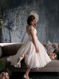 Vintage Chiffon Lace Tea Length Short Wedding Dress Circle Ball Gown Skirt Cap Sleeves V Back Flower Bow Sash Plus Size Wedding Dress. $229.00, via Etsy.