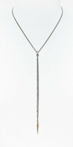 Long drop & brass spikes necklace