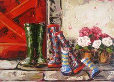 Red door wellys 50x70cm oil on canvas by Róisín O'Farrell