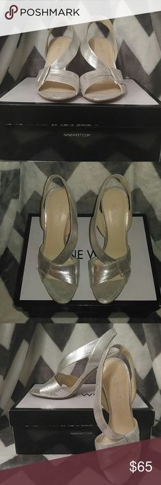 """Nine West Silver Slingback Heels Super cute, scrappy and sexy! Dress up your jeans or glam up your cocktail dress or formal piece. Style: Firecrkr. Synthetic upper with open toe. Man made outsole.  3.5"""" heel. Nine West Shoes Heels"""