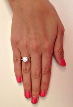 New Collection Diamond Solitaire Engagement Ring by RingsForYou With a silver band... totally perfect!