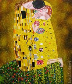 The Kiss Painting - Klimt The Kiss Oil Painting Reproduction for Sale