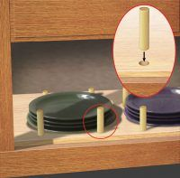 To keep your dishes in place maybe something like this to keep the little fence in place on all of the kitchen cabinets  Quick Tips | MotorHome Magazine