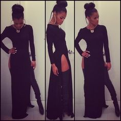 Dress: thy high heels little black maxi double split skirt high split teyana taylor gold black white