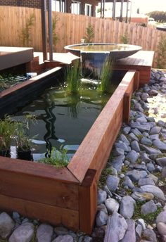 Stunning Water Features You Can Make In A Day is part of Backyard water feature - Is It Possible To Create A Beautiful Water Feature In Just A Couple Of Hours Or Less Absolutely it is! Allow me to introduce you to the world of container water features Modern Water Feature, Diy Water Feature, Backyard Water Feature, Ponds Backyard, Backyard Landscaping, Koi Ponds, Landscaping Ideas, Patio Pond, Outdoor Fish Ponds