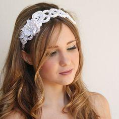 Wedding hair headband . Wedding cord headband от AccessoriesByNina, $53.00