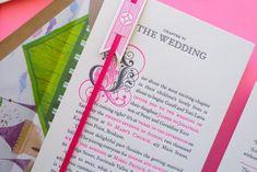 Neon Storybook Wedding Invitations via Oh So Beautiful Paper: http://ohsobeautifulpaper.com/2011/12/best-of-2011-neon-storybook-wedding-invitations/ | Design + Photo: The Hungry Workshop #letterpress #neon #wedding
