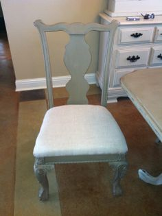 Flea market chairs recovered and painted in Annie Sloan coco