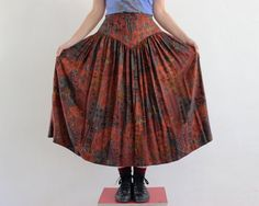 vintage ethnic skirt / dark red and brown by PaintYourWagonShop