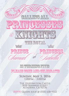 TWINS Birthday Invitation Princes or Prince and Princess Party - Double Party  Invitation 5x7 - Blue, Pink, Gray Silver
