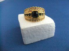 Vintage Monet Ring Goldtone Faux Sapphire Stones by ediesbest, $12.99