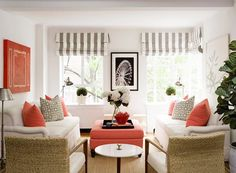 Striped shades and orange highlights Lynn Morgan Design a little color can make a small space look bigger