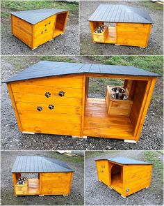 Reclaimed Pallets Wood Dog House Here we have an idea for creating reclaimed wood pallet dog house which contains the space to sleep as well as the fixed area for serving the meal which helps in avoiding the mess of placing plates anywhere in the house. Wood Dog House, Pallet Dog House, Dog House Plans, Puppy Obedience Training, Basic Dog Training, Training Dogs, Positive Dog Training, Dog Area, Dog Training Techniques
