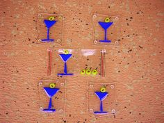 cool, hip funky fused glass martini coaster and wave tray set available from www.funksistergallery.com