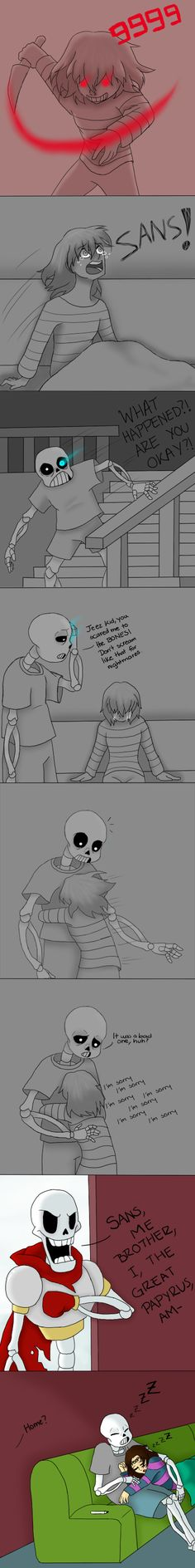 Sans and Frisk (Genocide run spoilers) by MichPajamaArtist.deviantart.com on @DeviantArt
