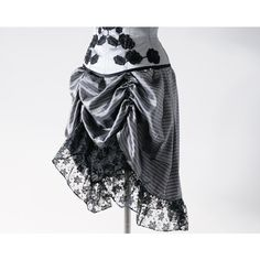 Striped Steampunk Skirt Victorian Bustle Skirt Renaissance Faire... ($45) ❤ liked on Polyvore featuring skirts, grey, women's clothing, striped skirt, steam punk skirt, grey skirt, silver skirt and gathered skirt